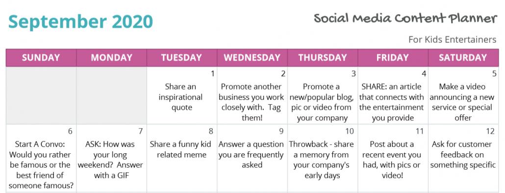 Social Media Content Sample 2020
