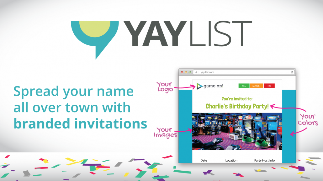 YAY-List | Branded Invitations for Party Businesses